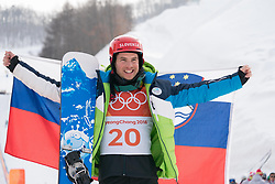 PYEONGCHANG-GUN, SOUTH KOREA - FEBRUARY 24: Bronze medalist Zan Kosir of Slovenia poses during the victory ceremony for the Men's Snowboard Parallel Giant Slalom on day fifteen of the PyeongChang 2018 Winter Olympic Games at Phoenix Snow Park on February 24, 2018 in Pyeongchang-gun, South Korea. Photo by Ronald Hoogendoorn / Sportida