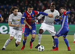 Manchester United Daley Blind (L), Paul Pogba (2R) and Basel's Mohamed Elyounoussi (2L) and Renato Steffen during the UEFA Champions League group A match between Basel and Manchester United in Basel, Switzerland, November 22, 2017. Basel won 1-0. (Credit Image: © Ruben Sprich/Xinhua via ZUMA Wire)
