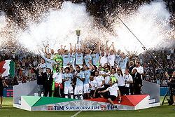 August 13, 2017 - Rome, Italy - Lazio's players celebrates the victory with the trophy during the Italian Supercup Final match between Juventus and Lazio at Stadio Olimpico, Rome, Italy on 13 August 2017. (Credit Image: © Giuseppe Maffia/NurPhoto via ZUMA Press)