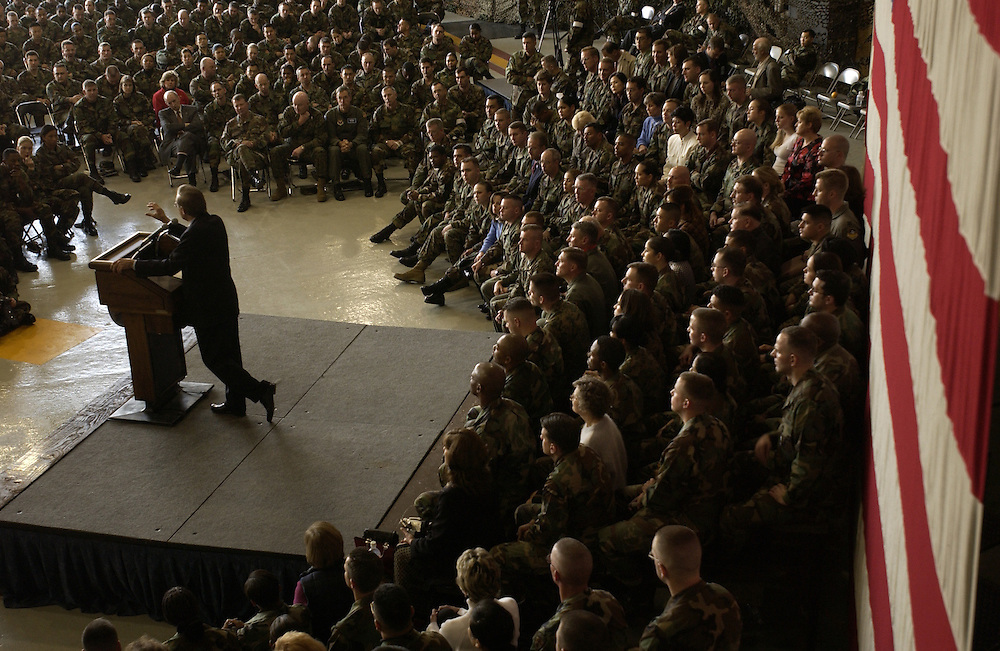 031118-F-2828D-125.Secretary of Defense Donald H. Rumsfeld answers a question from the audience during a town hall meeting at Osan Air Base, South Korea, on Nov. 18, 2003. Rumsfeld is traveling to Guam, Japan and South Korea to meet with U.S. military forces and the local military and civilian leadership. DoD photo by Tech. Sgt. Andy Dunaway, U.S. Air Force. (Released)