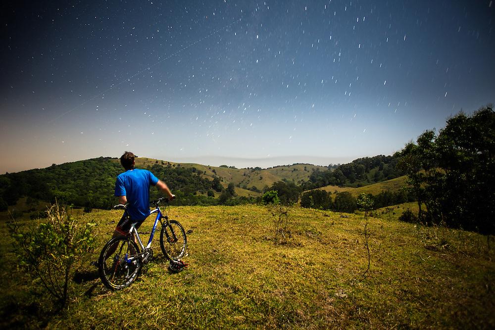 Night vista on the Noosa Trail Network by bike.