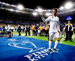 Sergio Ramos of Real Madrid CF lifts the trophy during the UEFA Champions League final between Real Madrid and Liverpool on May 26, 2018 at NSC Olimpiyskiy Stadium in Kyiv, Ukraine