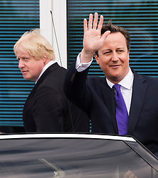 **FILE PICTURE- David Cameron and Boris Johnson will will campaign against each other ahead of an EU Referendum on June 23rd, 2016**© London News Pictures. 22/04/2015.British prime minister DAVID CAMERON and Mayor of London BORIS JOHNSON leaving Advantage Children's Day Nursery in Surbition, south London after campaigning for the general election on May 7th, 2015. Surbition is where TV series The Good Life was based. David Cameron made reference to The Good life in his election manifesto launch speech. Photo credit: Ben Cawthra/LNP
