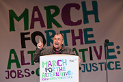 Brendan Barber, leader of the TUC Speaking at the TUC March for the Alternative 26 March 2011, Hyde Park London.