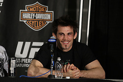 Mar 27, 2010; Newark, NJ, USA; Jon Fitch speaks at the UFC 111 post-fight press conference at the Prudential Center in Newark, NJ.