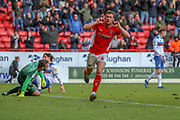 Charlton Athletic midfielder Krystian Bieklik (4) celebrating after scoring goal during the EFL Sky Bet League 1 match between Charlton Athletic and Rochdale at The Valley, London, England on 4 May 2019.