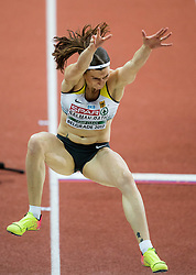 Claudia Salman-Rath of Germany competes in the Long Jump Women Qualification on day two of the 2017 European Athletics Indoor Championships at the Kombank Arena on March 4, 2017 in Belgrade, Serbia. Photo by Vid Ponikvar / Sportida