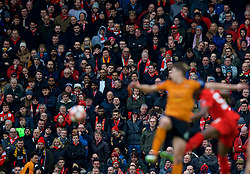 LIVERPOOL, ENGLAND - Saturday, January 28, 2017: Unhappy Liverpool supporters on the Spion Kop watch their side lose 2-1 to Wolverhampton Wanderers during the FA Cup 4th Round match at Anfield. (Pic by David Rawcliffe/Propaganda)