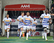 Nizaam Carr (Stormers) takes the field wit the Stormers during the Round 14 match of the 2013 Super Rugby Championship between RaboDirect Rebels vs DHL Stormers at AAMI Park, Melbourne, Victoria, Australia. 17/05/0213. Photo By Lucas Wroe