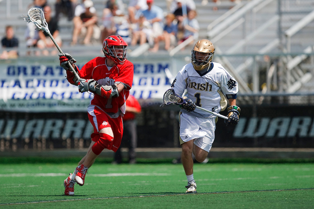 May 3, 2009:  #7 Doug Ruhnke of Ohio State and #1 Adam Felicetti of Notre Dame in action during the NCAA Lacrosse game between Notre Dame and Ohio State at GWLL Tournament in Birmingham, Michigan. Notre Dame defeated OSU 16-7. (Credit Image: Rick Osentoski/Cal Sport Media)