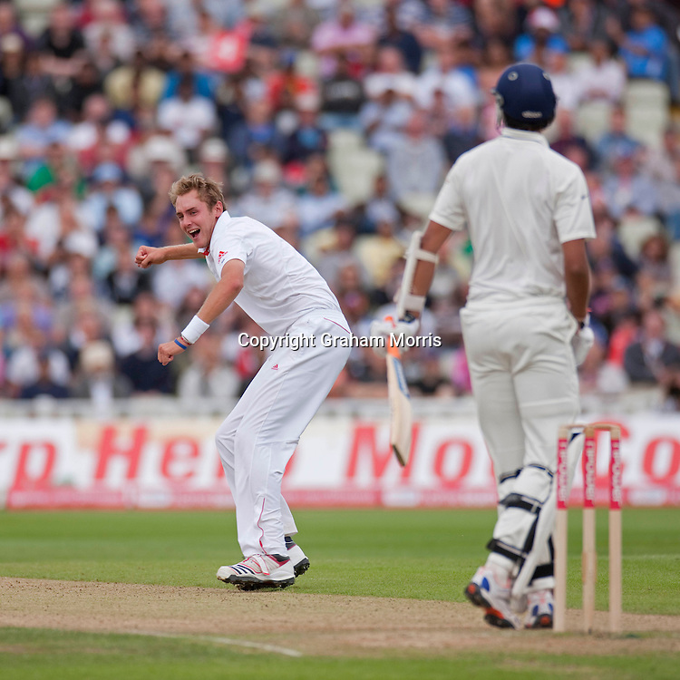 Stuart Broad celebrates trapping Ishant Sharma lbw during the third npower Test Match between England and India at Edgbaston, Birmingham.  Photo: Graham Morris (Tel: +44(0)20 8969 4192 Email: sales@cricketpix.com) 13/08/11