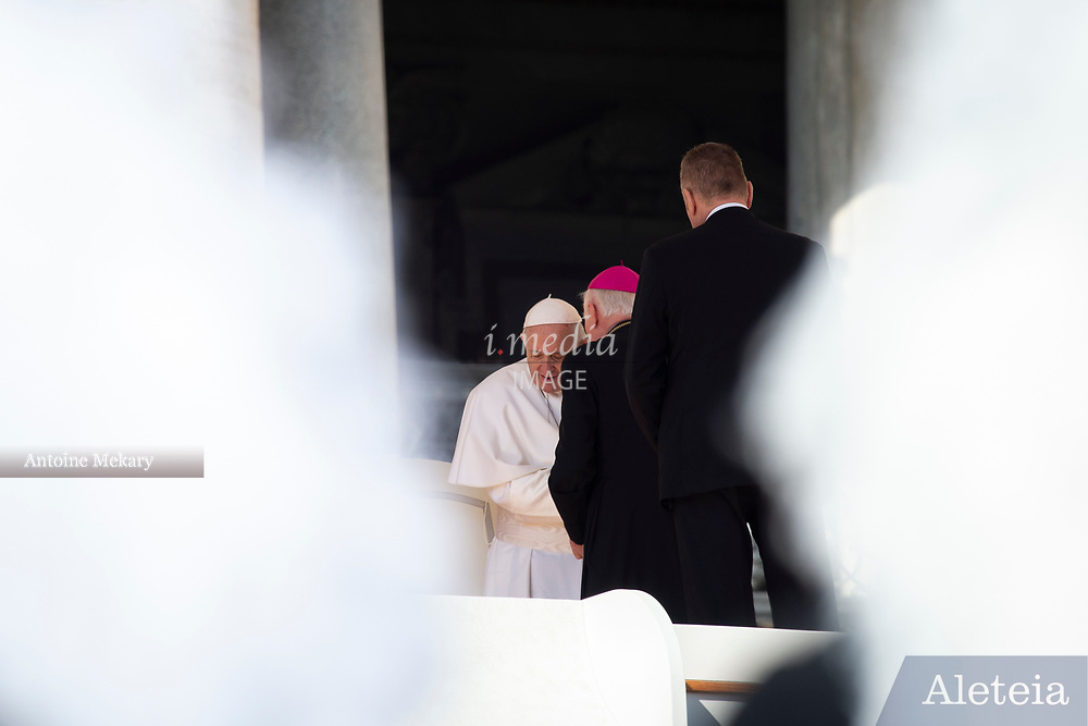 Vatican City - MARCH 06, 2019: Pope Francis meet Bishops at the end of his weekly general audience in St. Peter's Square at the Vatican.