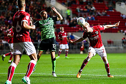 Hordur Magnusson of Bristol City is challenged by Aaron Taylor-Sinclair of Plymouth Argyle - Rogan/JMP - 08/08/2017 - Ashton Gate Stadium - Bristol, England - Bristol City v Plymouth Argyle - Carabao Cup Round One.