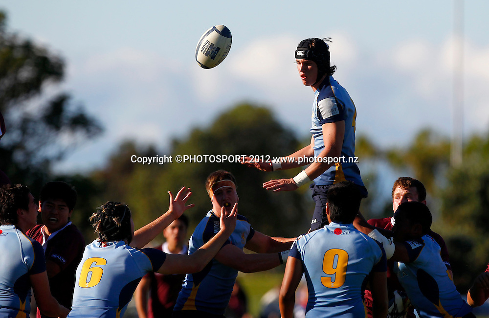 Cameron Rutherford of Mt Albert wins a lineout.  Auckland First XV Rugby match, Kings College v Mt Albert Grammar, University Rugby Club, Colin Maiden Park, Auckland, New Zealand. Saturday 5th May 2012. Photo: Simon Watts / photosport.co.nz