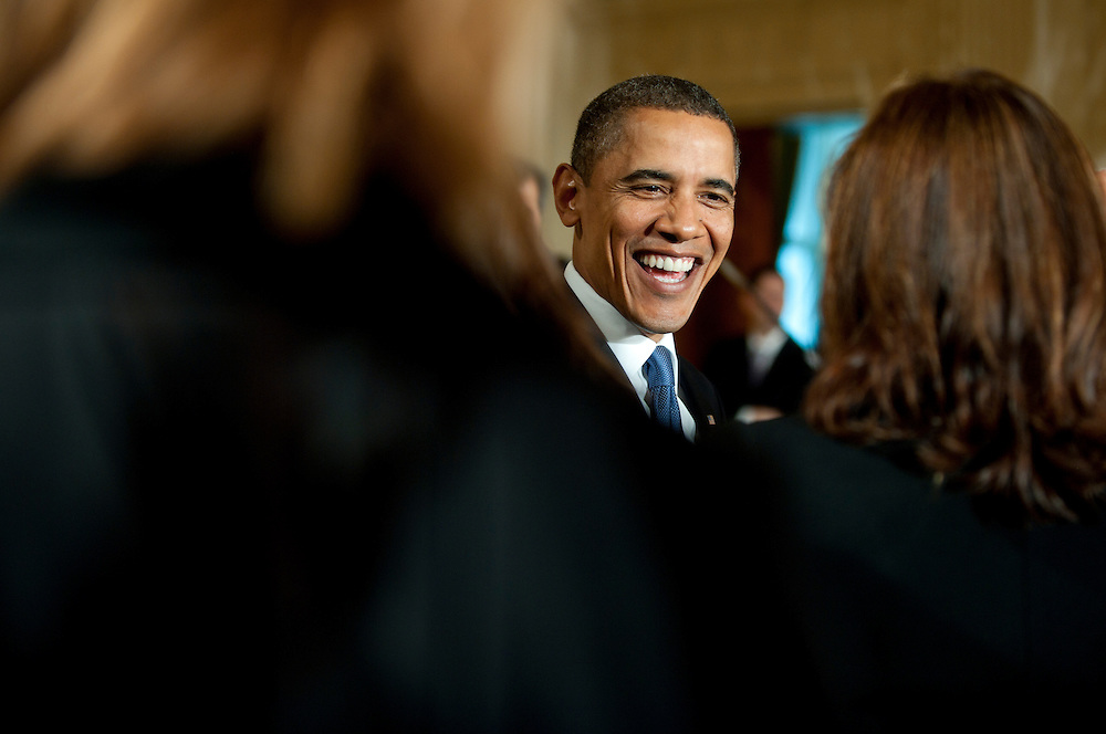 Oct 27, 2010 - Washington, District of Columbia, U.S. - Before an audience comprised of advocates, women's and fatherhood groups, faith leaders and law enforcement agencies President BARAK OBAMA delivers remarks on domestic violence awareness in the East Room of the White House on Wednesday. October is Domestic Violence Awareness Month.  PICTURED: President Obama meets actor Mariska Hargitay..(Credit Image: © Pete Marovich/ZUMA Press)