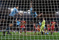 02.07.2010, Soccer City Stadium, Johannesburg, RSA, FIFA WM 2010, Viertelfinale, Uruguay (URU) vs Ghana (GHA) im Bild Luis Suarez of Uruguay (L) played with a hand, Jorge Fucile (4) of Uruguay and Goalkeeper of Uruguay Fernando Muslera in last minute of overtime, EXPA Pictures © 2010, PhotoCredit: EXPA/ Sportida/ Vid Ponikvar, ATTENTION! Slovenia OUT
