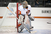 RIT's Jordan Ruby in net during a game at the Gene Polisseni Center in Rochester, New York on Friday, October 10, 2014.
