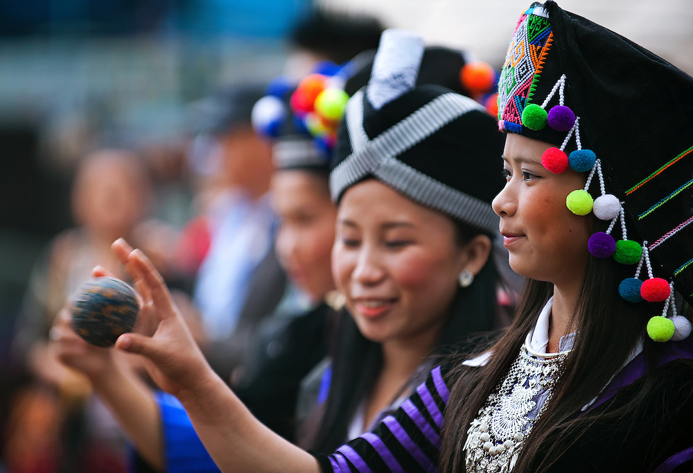 Hmong girls during a courtship ceremony is part of the Hmong new year in Laos.