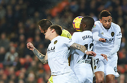 January 26, 2019 - Valencia, Valencia, Spain - Santi Mina, Francis Coquelin, Mouctar Diakhaby of Valencia CF during the La Liga Santander match between Valencia and Villarreal at Mestalla Stadium on Jenuary 26, 2019 in Valencia, Spain. (Credit Image: © Maria Jose Segovia/NurPhoto via ZUMA Press)