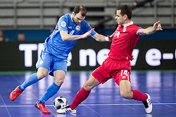 Taynan of Kazakhstan and Slobodan Rajcevic of Serbia during futsal quarter-final match between National teams of Kazakhstan and Serbia at Day 7 of UEFA Futsal EURO 2018, on February 5, 2018 in Arena Stozice, Ljubljana, Slovenia. Photo by Urban Urbanc / Sportida
