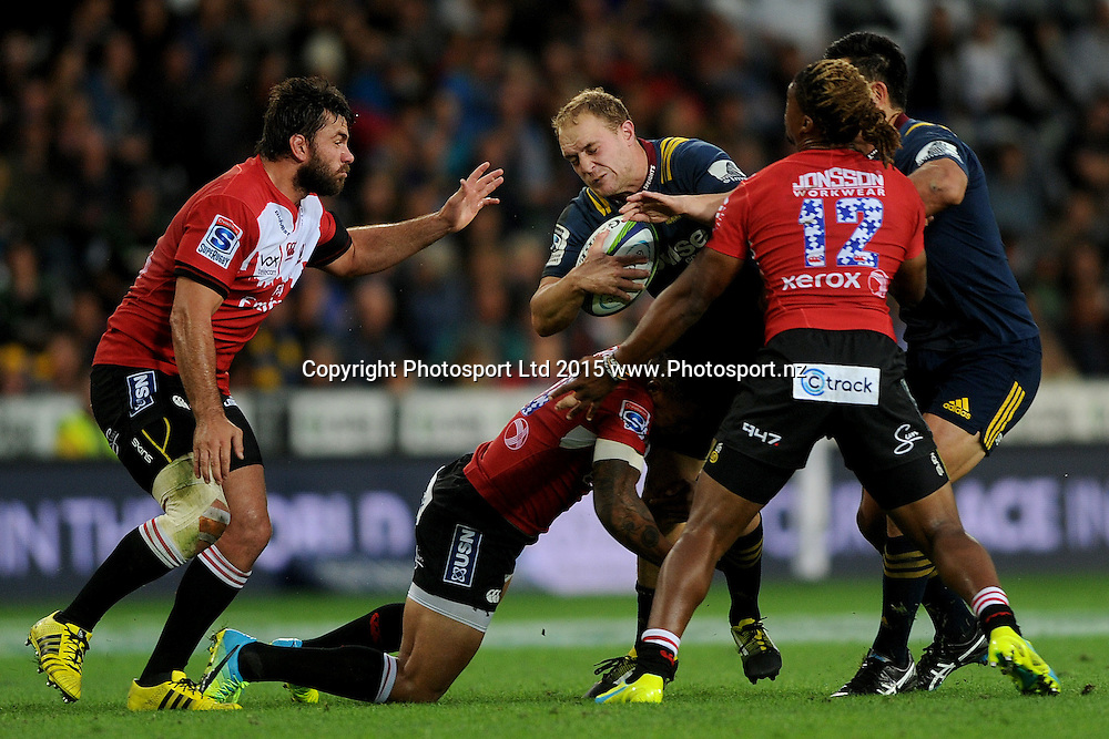 Matt Faddes of the Highlanders runs into the defence, during the Super Rugby match between the Highlanders and the Lions, at Forsyth Barr, Dunedin, New Zealand, 12 March 2016. Copyright Image: Joe Allison / www.Photosport.nz