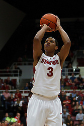 Dec 29, 2011; Stanford CA, USA;  Stanford Cardinal guard/forward Anthony Brown (3) shoots a free throw against the UCLA Bruins during the first half at Maples Pavilion.  Stanford defeated UCLA 60-59. Mandatory Credit: Jason O. Watson-US PRESSWIRE