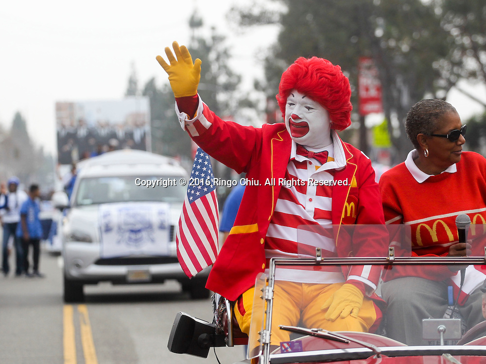 Ronald McDonald waves as the Martin Luther King Jr. parade makes it's way down Martin Luther King Blvd. in Los Angeles on Monday Jan. 18, 2016. The 31st annual Kingdom Day Parade honoring Martin Luther King Jr. was themed &quot;Our Work Is Not Yet Done&quot;(Photo by Ringo Chiu/PHOTOFORMULA.com)<br /> <br /> Usage Notes: This content is intended for editorial use only. For other uses, additional clearances may be required.