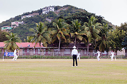 Leeward Islands Hurricanes and Windward Islands Volcanoes during play on the final day of the seventh round match in the WICB Professional Cricket League Regional 4-Day Tournament at Addelita Cancryn Junior High School. 22 February 2016.  St. Thomas, VI.  © Aisha-Zakiya Boyd