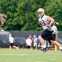 June 5, 2010; Metairie, LA, USA; New Orleans Saints tight end Jeremy Shockey (88) runs after a catch during a mini camp practice at the New Orleans Saints practice facility. Mandatory Credit: Derick E. Hingle