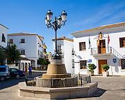 Buildings in village plaza  at Zahara de la  Sierra, Cadiz province, Spain