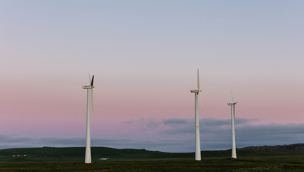 Sunrise on wind turbines on St. Paul Island in Southwest Alaska. Summer. Morning.