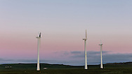 Sunrise on wind turbines on St. Paul Island in Southwest Alaska. Summer. Morning.