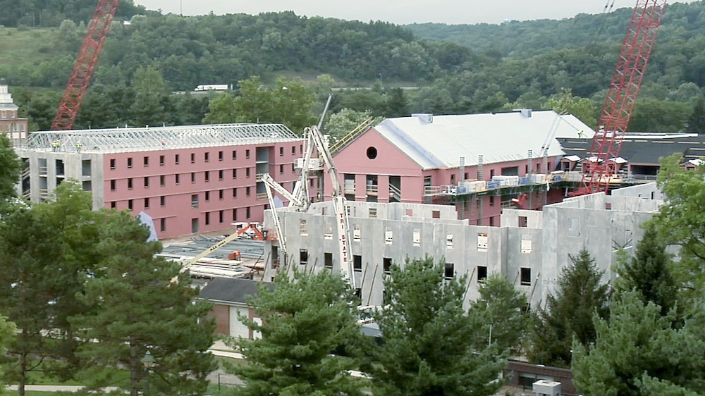 Aerial view of new residence hall construction. © Ohio University