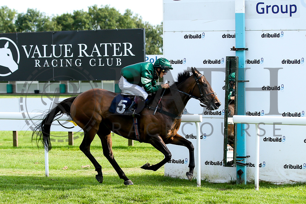 """Lady Natasha ridden by Luke Bacon trained by James Grassick in the """"""""Hands and Heels"""""""" Apprentice Handicap - Mandatory by-line: Robbie Stephenson/JMP - 27/08/2019 - PR - Bath Racecourse - Bath, England - Race Meeting at Bath Racecourse"""