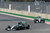 ROSBERG nico (ger) mercedes gp mgp w06 action<br /> HAMILTON lewis (gbr) mercedes gp mgp w06 action during the 2015 Formula One World Championship, Mexico Grand Prix from october 29nd to November 1st 2015 in Mexico, Mex. Photo Eric Vargiolu / DPPI