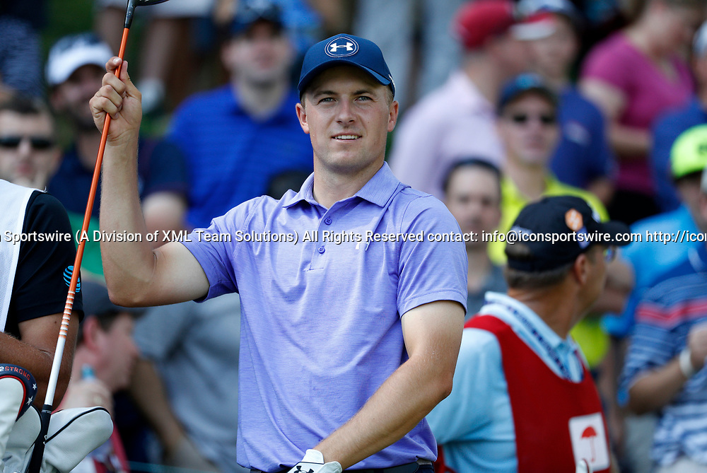 CROMWELL, CT - JUNE 23: Jordan Spieth selects his club on the 17th tee during the second round of the Travelers Championship on June 23, 2017, at TPC River Highlands in Cromwell, Connecticut. (Photo by Fred Kfoury III/Icon Sportswire)