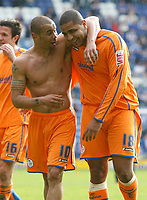 Photo: Steve Bond/Richard Lane Photography. <br />Leicester City v Sheffield Wednesday. Coca-Cola Championship. 26/04/2008. Deon Burton (L) and Leon Clarke (R) celebrate the win