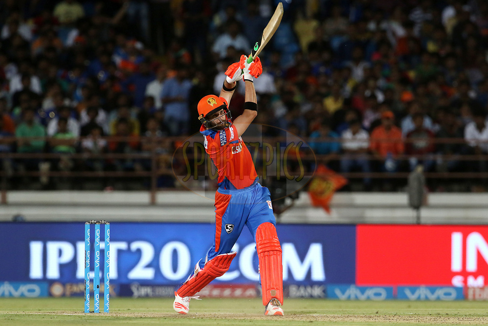 Andrew Tye of the Gujarat Lions plays a shot during match 35 of the Vivo 2017 Indian Premier League between the Gujarat Lions and the Mumbai Indians  held at the Saurashtra Cricket Association Stadium in Rajkot, India on the 29th April 2017<br /> <br /> Photo by Vipin Pawar - Sportzpics - IPL