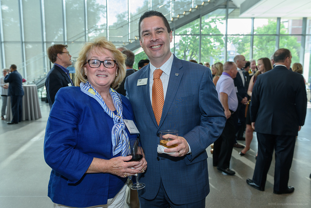Elaine Bush and Cory Bybee at the 10-year anniversary celebration of Republic Bank's Private Banking and Business Banking divisions Wednesday, May 17, 2017, at the Speed Art Museum in Louisville, Ky. (Photo by Brian Bohannon)