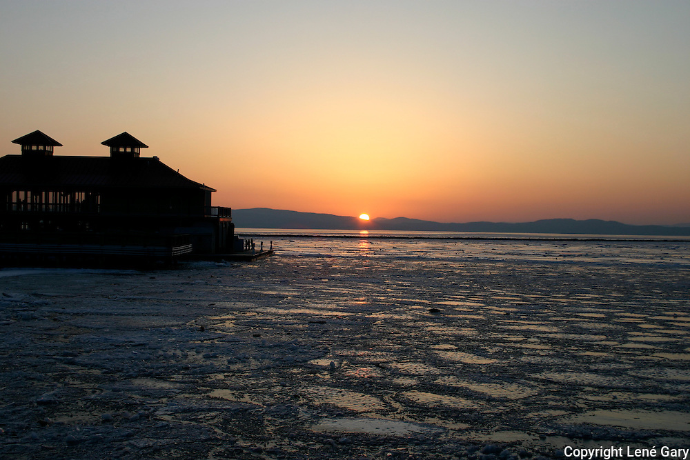 Boathouse in Burlington, Vermont, Lake Champlain Ice Melting