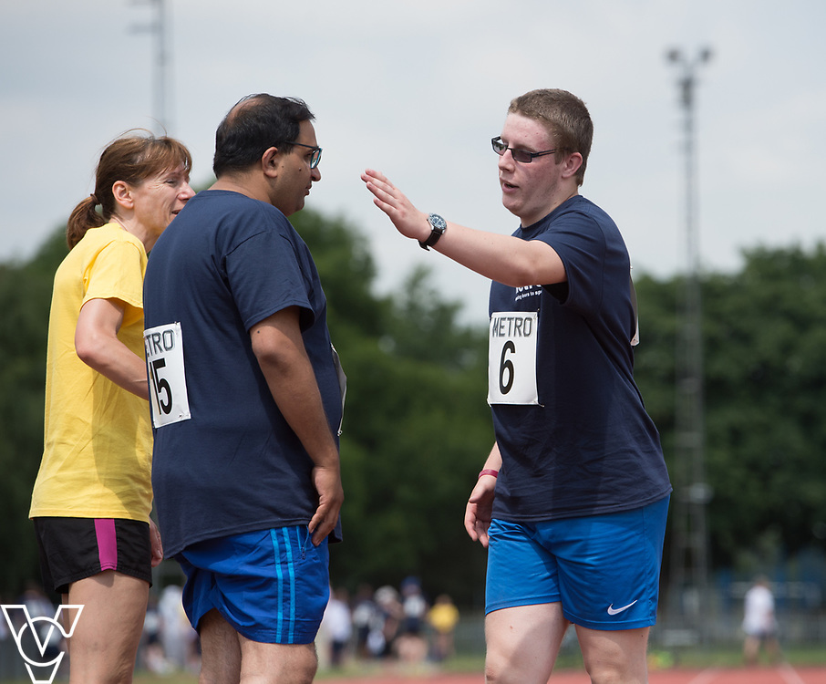 Metro Blind Sport's 2017 Athletics Open held at Mile End Stadium.  100m.  Atif Umer, centre, with guide runner and Matthew Boulding<br /> <br /> Picture: Chris Vaughan Photography for Metro Blind Sport<br /> Date: June 17, 2017