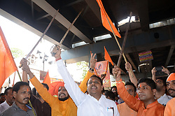 April 5, 2017 - Kolkata, India - Indian Hindu devotees shouts slogans with sword during the rally on the eve of Ram Navami festival in Kolkata , India on Wednesday , 5th April , 2017. (Credit Image: © Sonali Pal Chaudhury/NurPhoto via ZUMA Press)