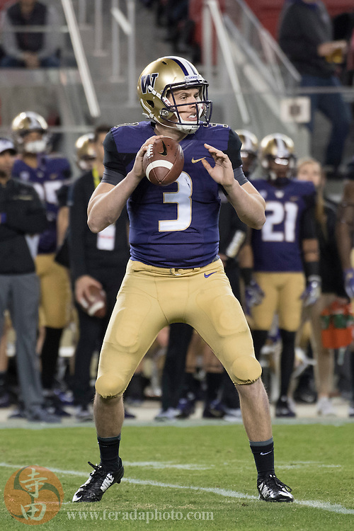 December 2, 2016; Santa Clara, CA, USA; Washington Huskies quarterback Jake Browning (3) during the first quarter in the Pac-12 championship against the Colorado Buffaloes at Levi's Stadium. The Huskies defeated the Buffaloes 41-10.