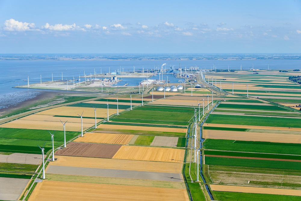 Nederland, Groningen, Gemeente Eemsmond, 05-08-2014;  Emmapolder met windmolenpark. Eemshaven aan de horizon.<br /> <br /> Emmapolder, North Netherland, wind farm.<br /> luchtfoto (toeslag op standard tarieven);<br /> aerial photo (additional fee required);<br /> copyright foto/photo Siebe Swart