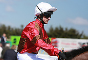 Jockey Charlie Bennett on Farmshop Boy in the Parade Ring before the 3.50 race at Brighton Racecourse, Brighton & Hove, United Kingdom on 10 June 2015. Photo by Bennett Dean.