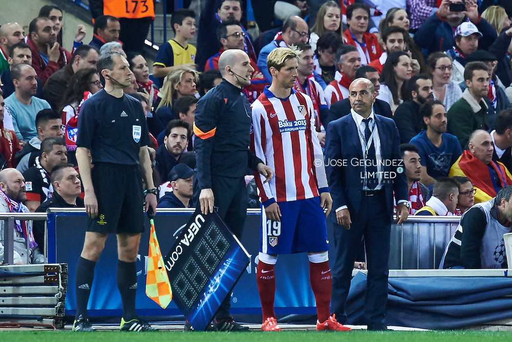 Fernando Torres in action during the Champions League, round of 4 match between Atletico de Madrid and Real Madrid at Estadio Vicente Calderon on April 14, 2015 in Madrid, Spain
