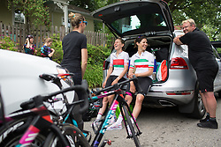 CANYON//SRAM Racing riders and team staff share a lighthearted moment before the Philadelphia International Cycling Classic, a 117.8 km road race in Philadelphia on June 5, 2016 in Philadelphia, PA.