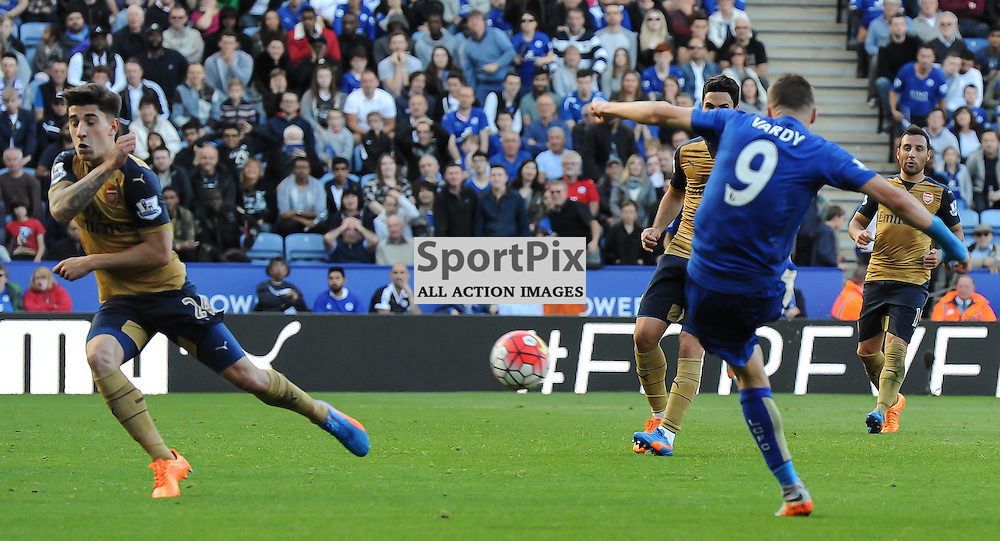 Jamie Vardy side-foots home for Leicester's second goal (c) Simon Kimber | SportPix.org.uk