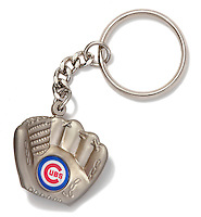Chicago Cubs glove keychain on white background