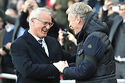 Sunderland AFC manager David Moyes and Leicester City Manager Claudio Ranieri before  the Premier League match between Sunderland and Leicester City at the Stadium Of Light, Sunderland, England on 3 December 2016. Photo by Ian Lyall.